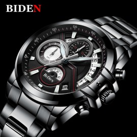 BIDEN Luxury Chronograph Business Quartz Watch – Black