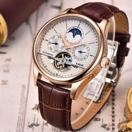 LIGE  Luxury Moon Phase Automatic Tourbillon Watch