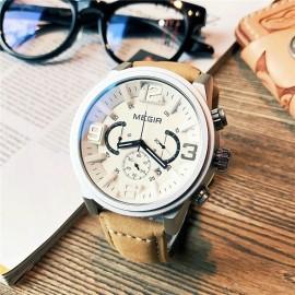 MEGIR Luxury White/Brown Chronograph Watch – Business Edition