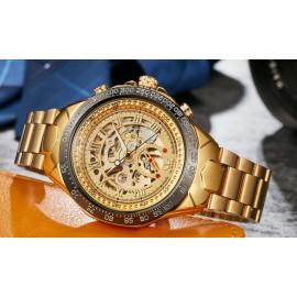 SEWOR Automatic Skeleton Mechanical Watch- Golden/Black