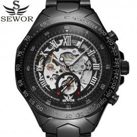 SEWOR Black Automatic Skeleton Mechanical Watch-Premium Watch