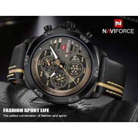 NaviForce Chronograph Luxury Watch for Men-Golden/Black
