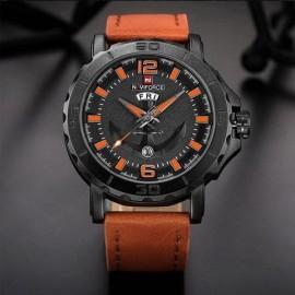 NaviForce NF 9122 Analog Watch for Men-Orange/Brown