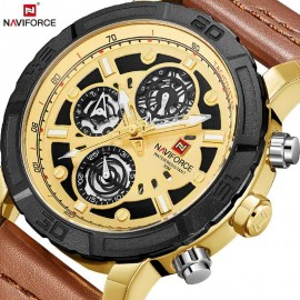 NaviForce MultiFunction Chronograph Watch – Golden/Brown