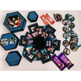 Handmade 4 Layer Hexagonal Explosion Box With Photos And Chocolates