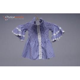 Off Shoulder Strapless Long Sleeve Plaid t-Shirt