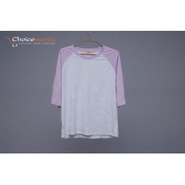 simple or elegents light purple and white t-shirt